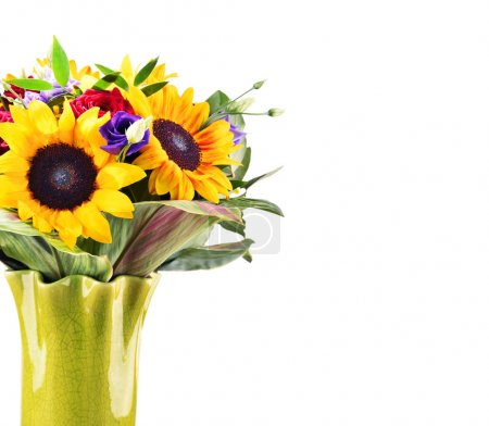 Composition with bouquet of flowers isolated on white