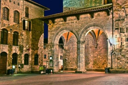 Street view of San Gimignano in Tuscany, Italy by night