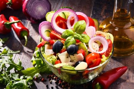 Composition with vegetable salad bowl. Balanced diet