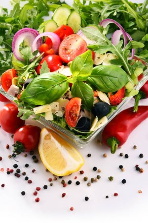 Photo for Composition with vegetable salad bowl. Balanced diet. - Royalty Free Image