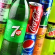 Постер, плакат: Bottles and cans of assorted global soft drinks