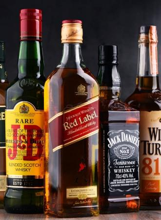 Bottles of several global whiskey brands