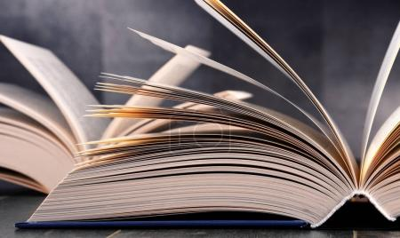 Composition with open book on the table