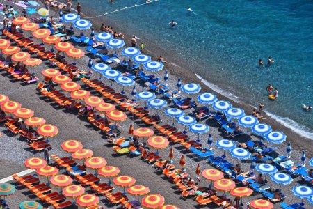 Mediterranean beach in Positano on Amalfi Coast, Italy