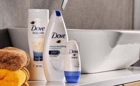 Variety of Dove products including body milk and anti-perspirant
