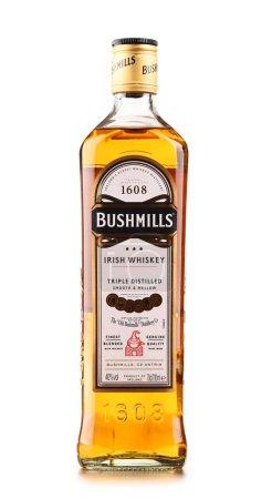 Bottle of Bushmills Original Irish whiskey isolated on white