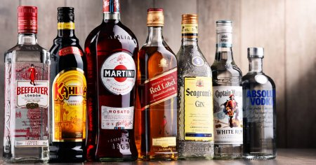 Bottles of assorted global liquor