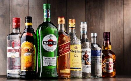 Bottles of assorted global liquor