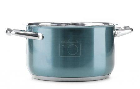 Photo pour Pot en acier vide isolé sur fond blanc . - image libre de droit