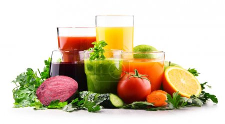 Photo for Glasses with fresh organic vegetable and fruit juices. Detox diet - Royalty Free Image