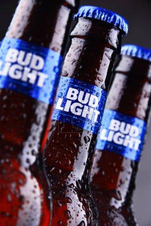 POZNAN, POL - MAY 3, 2018: Bottles of Bud Light be...