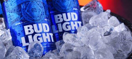 POZNAN, POL - NOV 22, 2019: Bottles of Bud Light b...