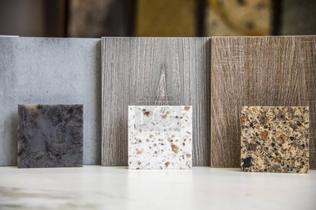 Granite sample display at a stone design center. Stone Material, Kitchen, Store, Material, Granite