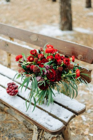 Winter Wedding decor with red roses...