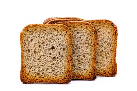 Photo pour Tranches de pain grillé sur fond blanc - image libre de droit