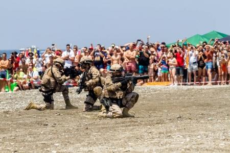 MOTRIL, GRANADA, SPAIN - JUNe 11: Spanish Marines taking part in an exhibition on the 12th international airshow of Motril on Jun 11, 2017, in Motril, Granada, Spain