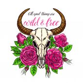 animal skull with horns and roses
