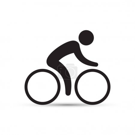 Cyclist icon, vector simple isolated cycling sign.