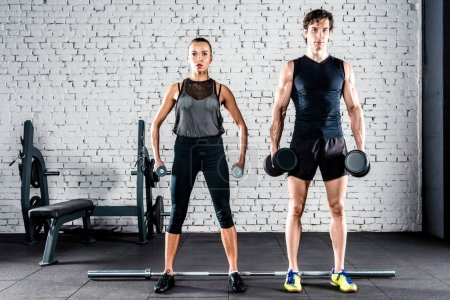 Photo for Young sportive man and woman training with dumbbells in gym - Royalty Free Image