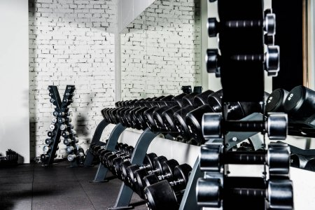 Photo for Well-ordered weight training equipment in modern sports club - Royalty Free Image