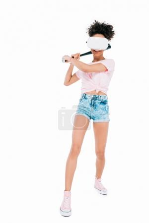 woman in virtual reality headset with bat