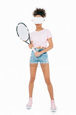 girl playing tennis in virtual reality