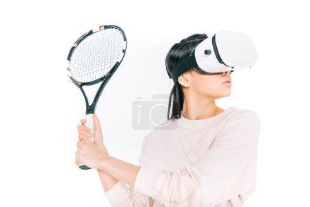 girl playing tennis in virtual reality