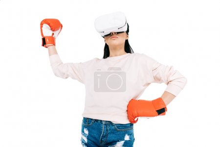 Woman boxing in virtual reality