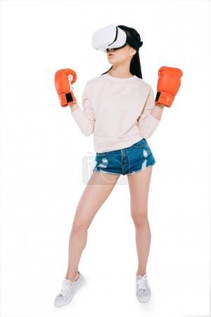 woman boxing in virtual reality