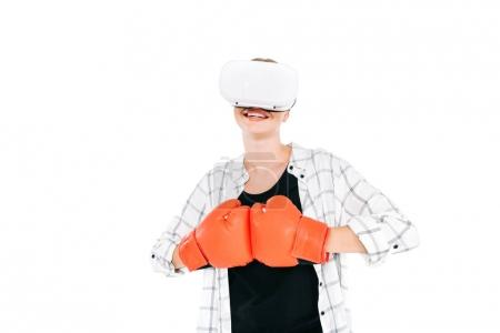 Woman boxing in virtual reality headset
