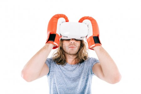 man boxing in virtual reality headset