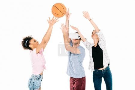 multiethnic friends playing basketball