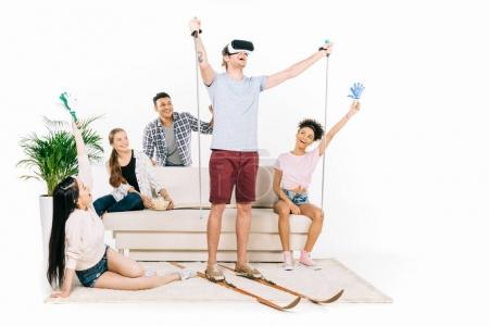 Multiethnic friends in virtual reality