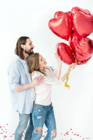 Couple with air balloons
