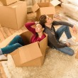 High angle view of tired couple sitting on floor a...