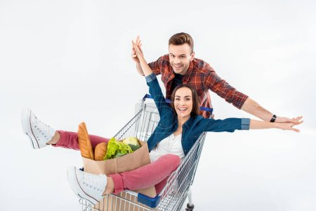 Couple with shopping cart
