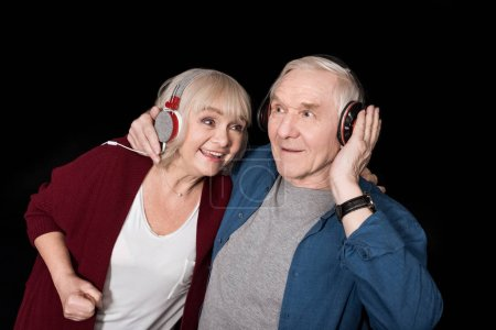 senior couple listening music