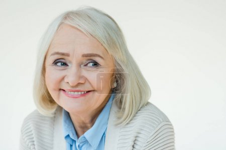 Photo for Portrait of cheerful senior woman with makeup on white - Royalty Free Image