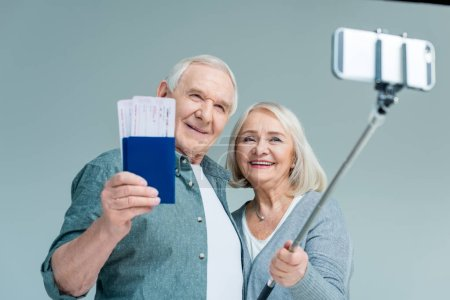 senior couple making selfie