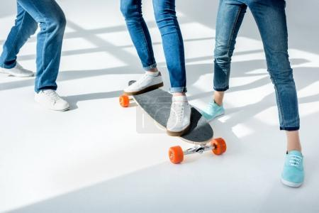 Young family with skateboard