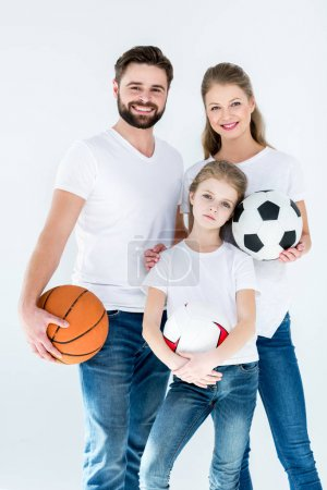 Family with sports balls