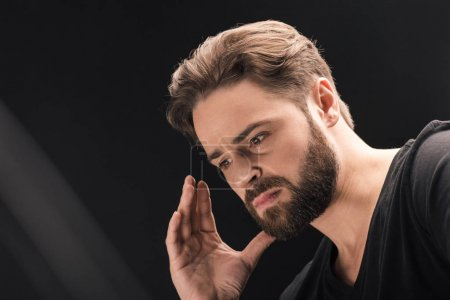 upset bearded man