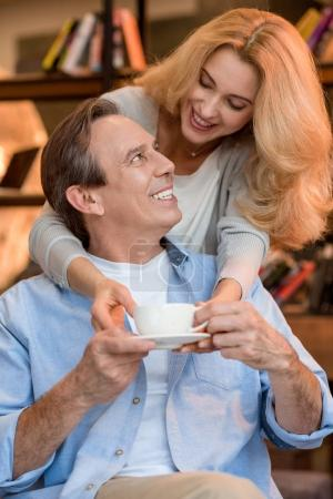 Mature couple with tea