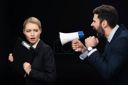 businessman shouting on colleague
