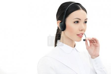 call center operator in headset