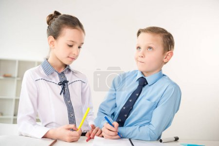 Photo for Children working in office like adult business people - Royalty Free Image