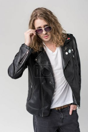 man in black leather jacket and sunglasses