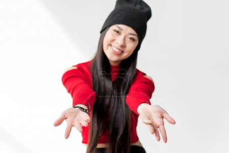 Woman stretch out hands