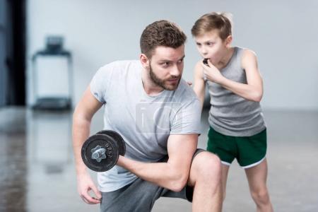 Boy coach training man