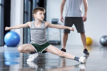 Boy doing stretching